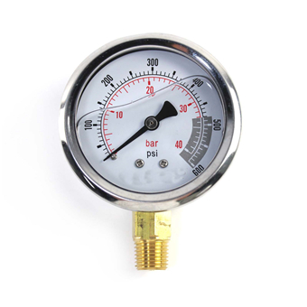 Liquid-filled pressure gauge